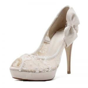Chic / Beautiful Ivory Prom Wedding Shoes 2017 Bow Tulle Platform High Heel Open / Peep Toe Pumps