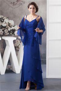 2015 Elegant A-linie V-ausschnitt Spaghetti-trägern Sicken Kaskadierenrüschen Mutter Der Braut Kleid Mit Schal