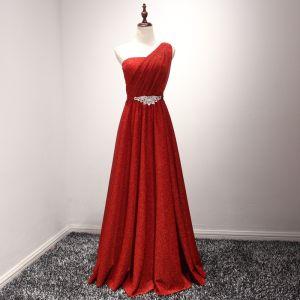 Glitzernden Rot Abendkleider 2017 A Linie Lange Fallende Rüsche One-Shoulder Ärmellos Rückenfreies Glanz Strass Stoffgürtel Festliche Kleider