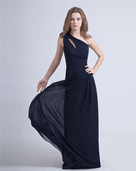 Elegant Charmig En-axeln Chiffong Festklänningar