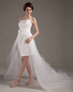 Yarn One Shoulder Ruffle Asymmetric Short Bridal Gown Wedding Dresses