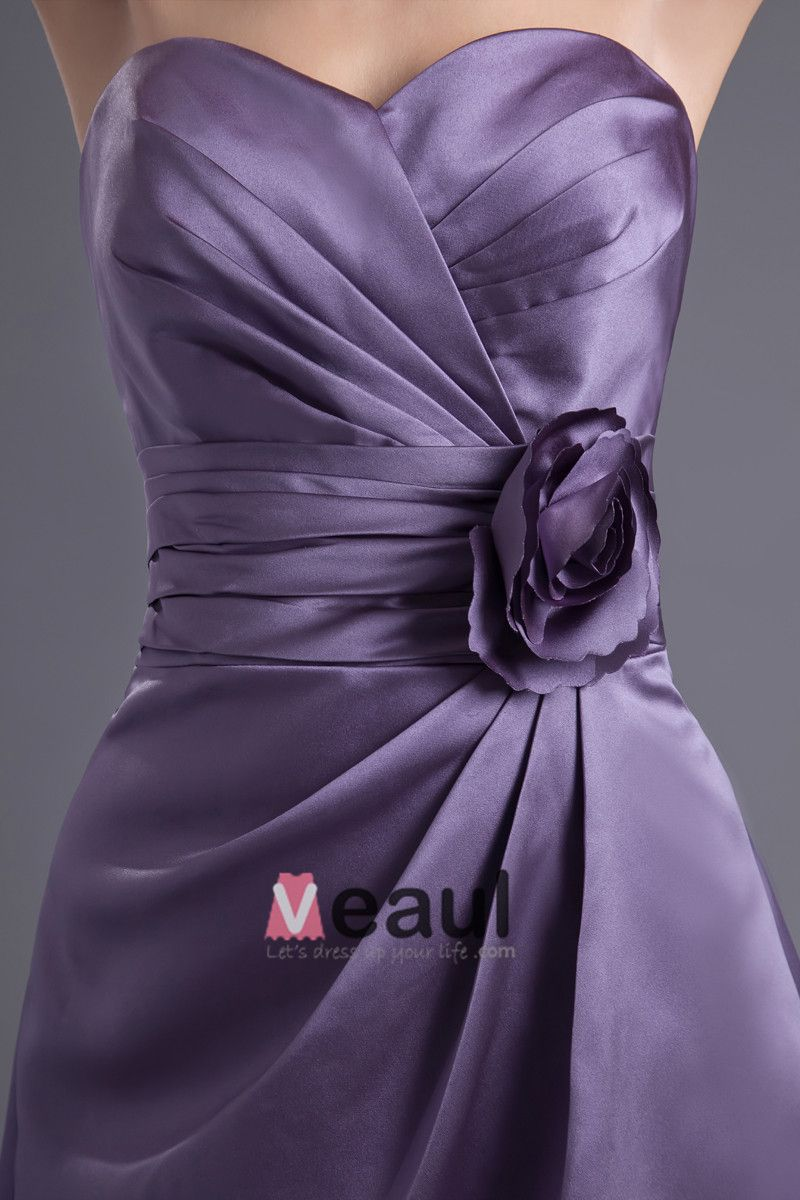 Fashion Satin Pleated Flower Sweetheart Knee Length Bridesmaid Dress