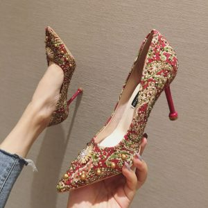 Traditional Fancy Red Evening Party Pumps 2020 Rivet Rhinestone 9 cm Stiletto Heels Pointed Toe Pumps