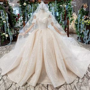 Sparkly Romantic Champagne Ball Gown Wedding Dresses 2020 Off-The-Shoulder Handmade  Beading Backless Crystal Sequins Cathedral Train Wedding