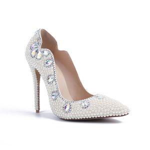Mode Ivoire Perle Chaussure De Mariée 2020 Cuir Cristal 10 cm Talons Aiguilles À Bout Pointu Mariage Escarpins