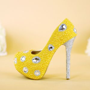 Chic / Beautiful Gold Pearl Prom Pumps 2019 Crystal 14 cm Stiletto Heels Round Toe Pumps