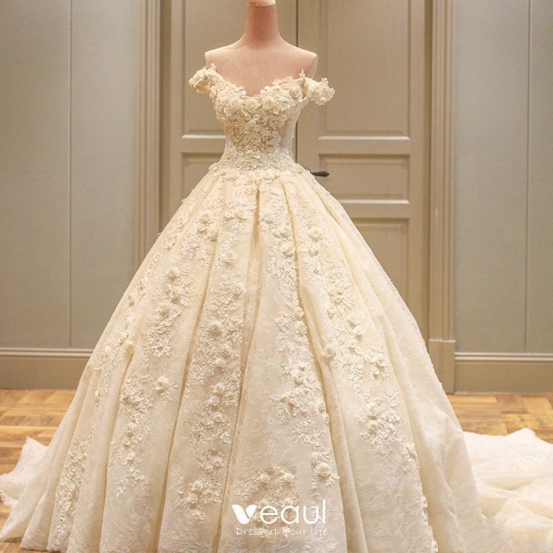 Amazing   Unique Champagne Wedding Dresses 2017 Ball Gown Lace Flower  Backless Tulle Sweetheart Short Sleeve Hall 912122687