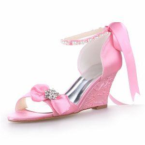 Prinses Open Teen Halverwege Wiggen Roze Satijnen Sandalen Bruidsschoenen Trouwsschoenen Met Parel En Strass Strik