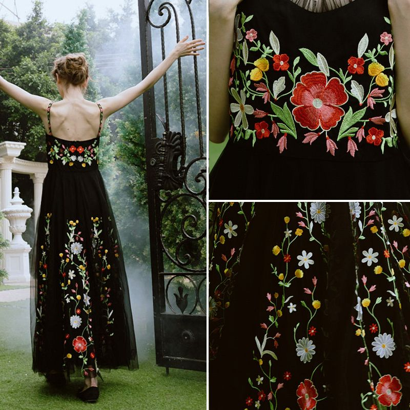 Chic / Beautiful 2017 Black Red Zipper Up Embroidered Organza V-Neck Beach Casual Cocktail Party Evening Party Summer Sleeveless Ball Gown Graduation Dresses