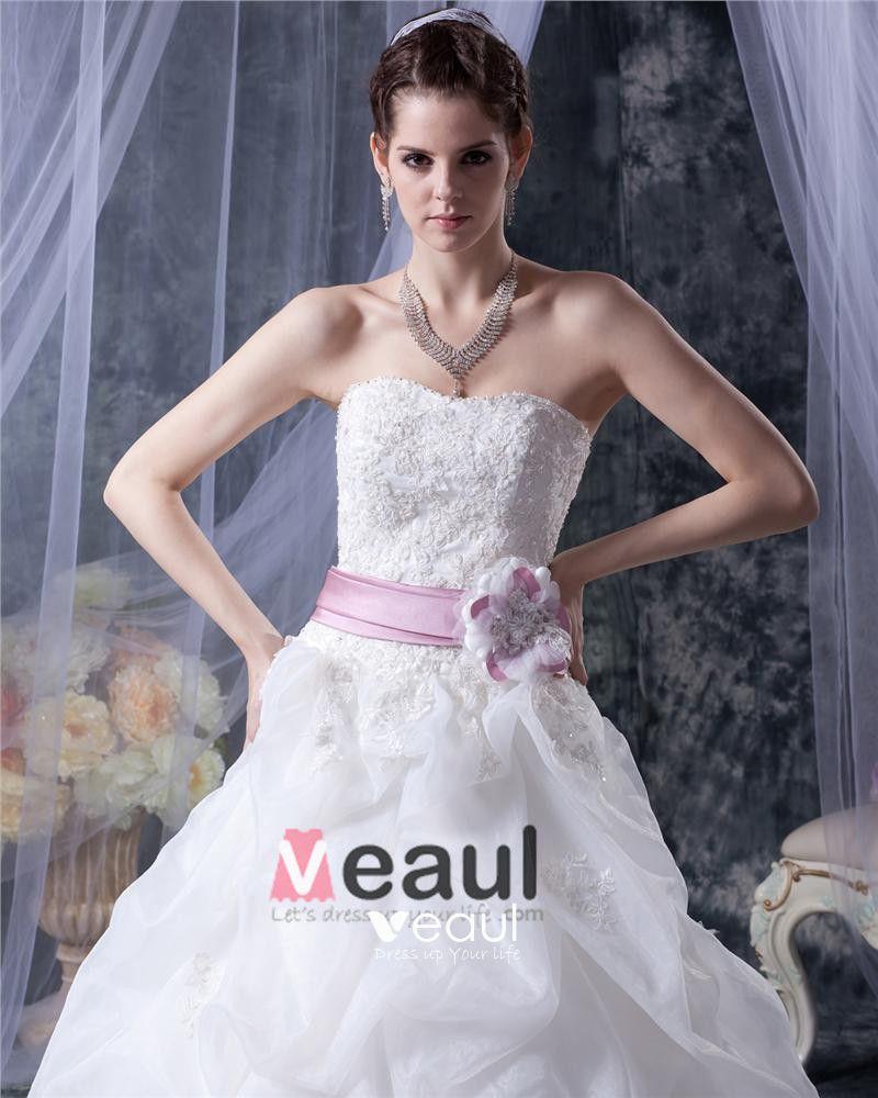 Elegant Mermaid Strapless Organza Satin Embroidery A Line Wedding Dress