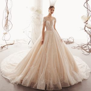 Luxury / Gorgeous Champagne See-through Wedding Dresses 2019 A-Line / Princess Square Neckline Short Sleeve Backless Beading Tassel Glitter Tulle Feather Cathedral Train Ruffle