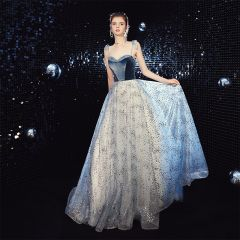 Chic / Beautiful Ocean Blue Evening Dresses  2020 A-Line / Princess Spaghetti Straps Sleeveless Beading Glitter Tulle Sweep Train Ruffle Backless Formal Dresses
