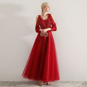 Elegant Burgundy Evening Dresses  2019 A-Line / Princess Square Neckline Puffy Long Sleeve Appliques Lace Beading Sash Floor-Length / Long Ruffle Backless Formal Dresses