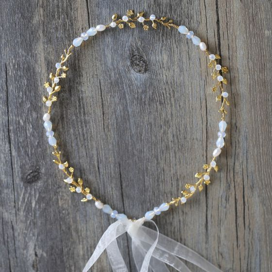 Elegante Gold Stirnbänder Haarschmuck Braut  2020 Metall Schnüren Perlenstickerei Hochzeits Kopfschmuck Brautaccessoires