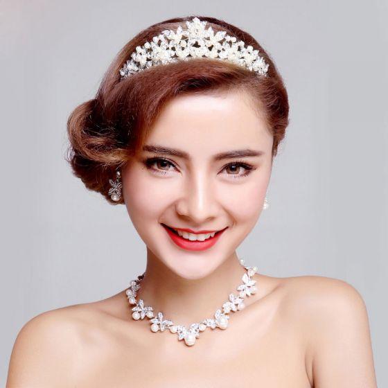 Mode Perle Braut Halskette / Ohrringe / Tiara Dreiteilige