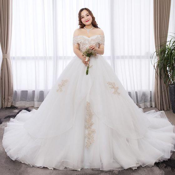 Schone Weiss Ballkleid Ubergrosse Brautkleider Hochzeitskleider 2019