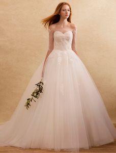 Robes De Mariée Élégantes 2016 Au Large De La Dentelle Appliques Épaule Ruffle Tulle Backless Robe De Mariage