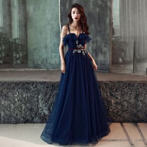 Chic / Beautiful Navy Blue Evening Dresses  2019 A-Line / Princess Spaghetti Straps Sleeveless Sash Appliques Lace Pearl Floor-Length / Long Ruffle Backless Formal Dresses