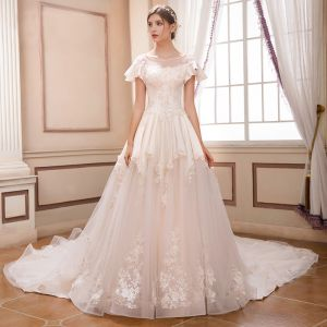 Chic / Beautiful Champagne Wedding Dresses 2018 A-Line / Princess See-through Pearl Scoop Neck Short Sleeve Backless Appliques Lace Sequins Ruffle Cathedral Train