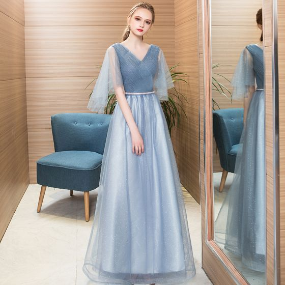 Hermoso Azul Cielo Vestidos de noche 2018 A-Line / Princess Rhinestone V-Cuello Sin Espalda 3/4 Ærmer Largos Vestidos Formales
