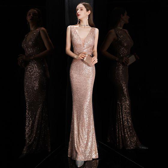 Glitzernden Rose Gold Pailletten Abendkleider 2020 Meerjungfrau Tiefer V-Ausschnitt Ärmellos Lange Rückenfreies Festliche Kleider