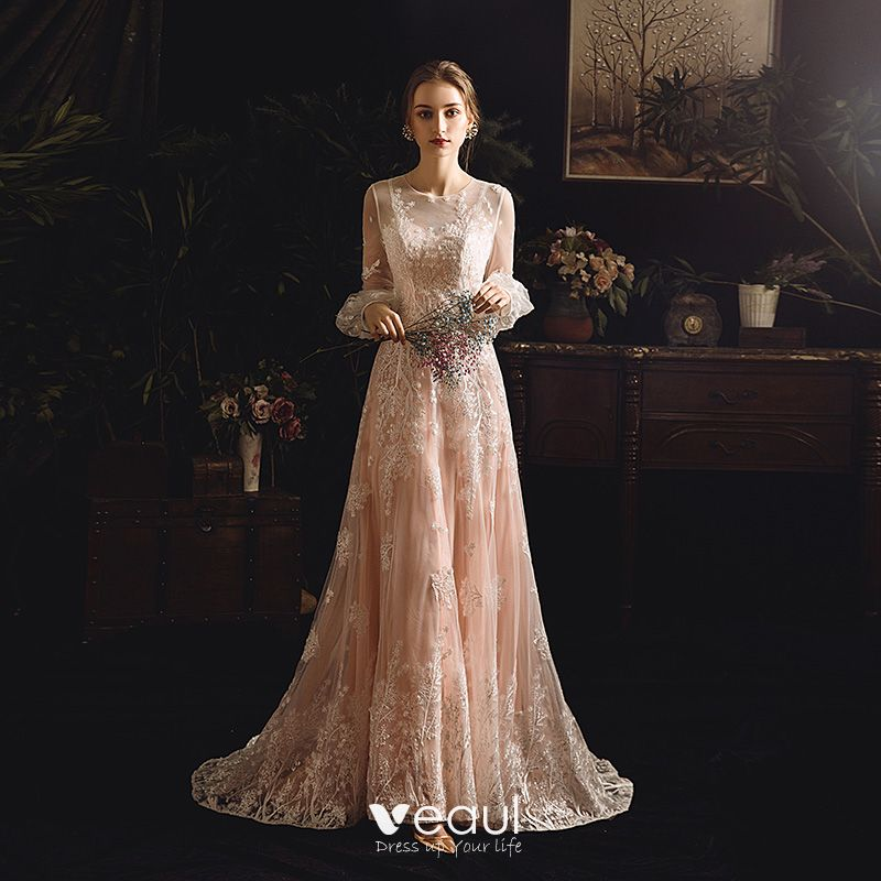 Best Champagne See Through Outdoor Garden Wedding Dresses 2019 Sheath Fit Scoop Neck Puffy Long Sleeve Appliques Lace Sweep Train Ruffle