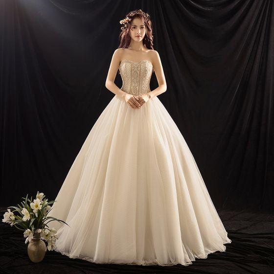 Luxus / Herrlich Champagner Brautkleider / Hochzeitskleider 2019 Ballkleid Herz-Ausschnitt Ärmellos Rückenfreies Perlenstickerei Sweep / Pinsel Zug Rüschen