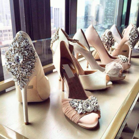 Romantic Crystal Wedding Shoes 2017 Stiletto Heels Open / Peep Toe Beading Satin 10 cm Womens Shoes Pumps