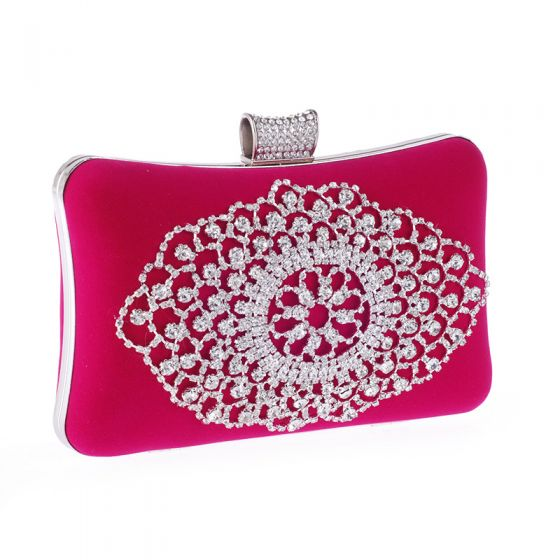 Chic / Beautiful Fuchsia Rhinestone Metal Clutch Bags 2018
