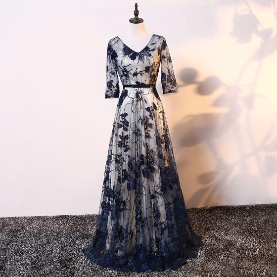 Eleganckie Szampan Granatowe Sukienki Na Wesele Dla Mamy 2017 Princessa V-Szyja 3/4 Rękawy Aplikacje Z Koronki Kokarda Szarfa Długie Sukienki Na Wesele