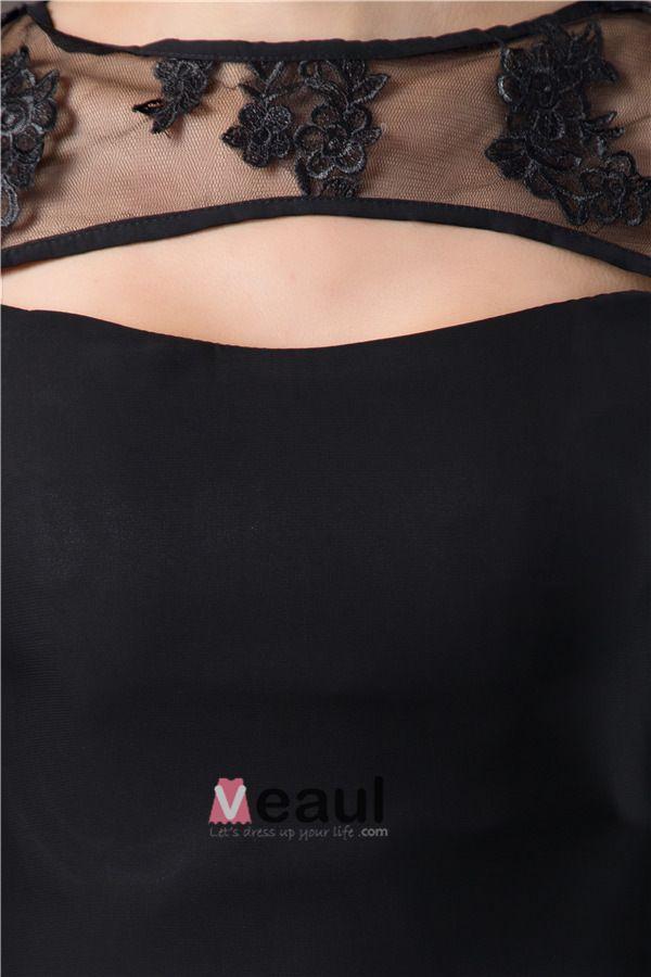 Uniques Longues Manches En Dentelle Robe De Ceremonie Simple Robe De Cocktail Noire