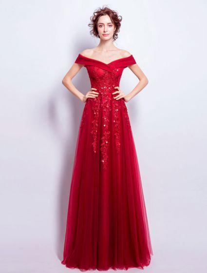 da481e0025 Piękna Długa Suknia Wieczorowa Czerwona Sukienka Tiulowa Off-the-ramię Z  Koronką