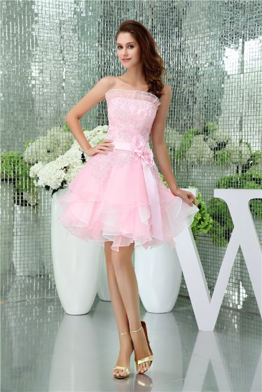 2015 Cute Strapless Lace Pink Cocktail Dress