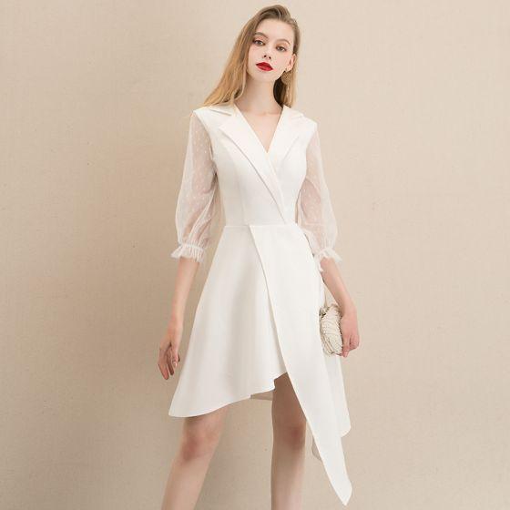 Fashion White Homecoming Graduation Dresses 2020 A-Line / Princess V-Neck Puffy 3/4 Sleeve Asymmetrical Formal Dresses