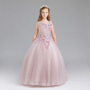 Chic / Beautiful Blushing Pink Flower Girl Dresses 2017 Ball Gown Scoop Neck Sleeveless Appliques Flower Floor-Length / Long Ruffle Wedding Party Dresses