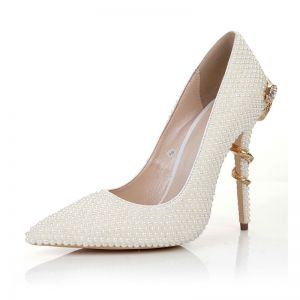 Fashion Ivory Pearl Wedding Shoes 2020 Leather 11 cm Stiletto Heels Pointed Toe Wedding Pumps