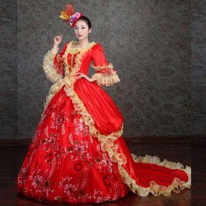 Vintage Medieval Rojo Ball Gown Vestidos de gala 2021 Escote Cuadrado Manga Larga Largos Hecho a mano Rebordear Bordado Lentejuelas Gala Vestidos Formales