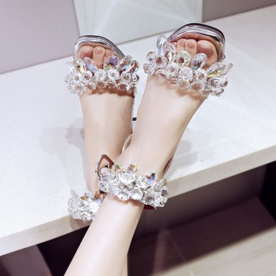 Mooie / Prachtige Zilveren Toevallig Kristal Sandalen Dames 2019 Leer Rhinestone Enkelband 7 cm Dikke Hak Peep Toe Hoge Hakken Sandalen