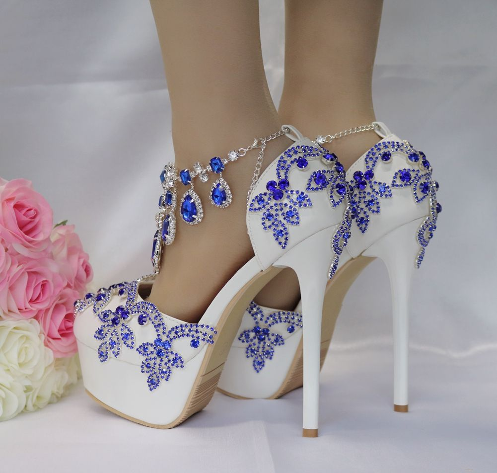Charming Royal Blue Wedding Shoes 2018 Crystal Rhinestone 14 cm Stiletto Heels Round Toe Wedding High Heels