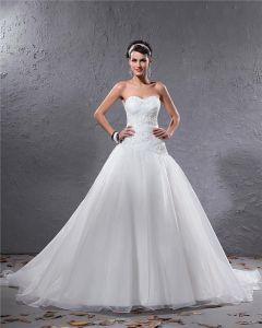 Eleganta Organza Veckad Applikationer Parlstav Alskling Golv Langd Domstol Tag Balklänning Brudklänningar Bröllopsklänningar