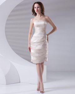 Strapless Knee Length Applique Pleated Satin Women Little Black Party Dress