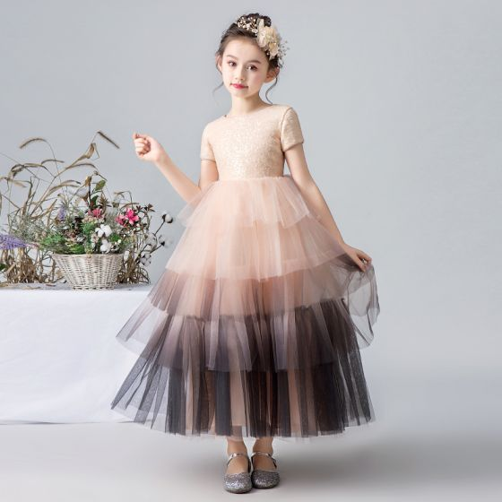 Elegant Pearl Pink Gradient-Color Flower Girl Dresses 2019 Ball Gown Scoop Neck Short Sleeve Sequins Ankle Length Cascading Ruffles Wedding Party Dresses