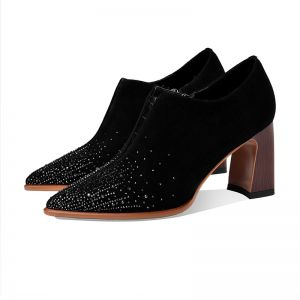 Fashion Black Casual Suede Starry Sky Womens Boots 2020 Leather Rhinestone 7 cm Thick Heels Pointed Toe Boots