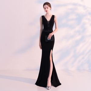 Stunning Black Evening Dresses  2018 Trumpet / Mermaid V-Neck Sleeveless Beading Split Front Floor-Length / Long Backless Formal Dresses