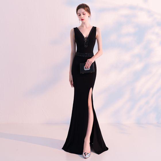 Stunning Black Evening Dresses 2018 Trumpet Mermaid V Neck
