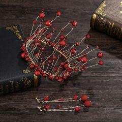 Charmant Bordeaux Perle Tiare Boucles D'Oreilles Mariage Accessorize 2019 Métal Bijoux Mariage