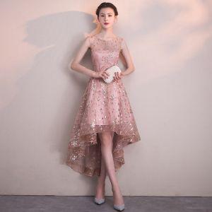 Chic / Belle Rougissant Rose Robe De Cocktail 2018 Princesse Paillettes Encolure Dégagée Dos Nu Sans Manches Asymétrique Robe De Ceremonie