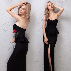 Modest / Simple Black Evening Dresses  2019 Strapless Sleeveless Backless Ankle Length Formal Dresses
