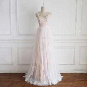 Uroczy Szampan Suknie Ślubne 2020 Princessa Spaghetti Pasy Z Koronki Kwiat Bez Rękawów Bez Pleców Długie