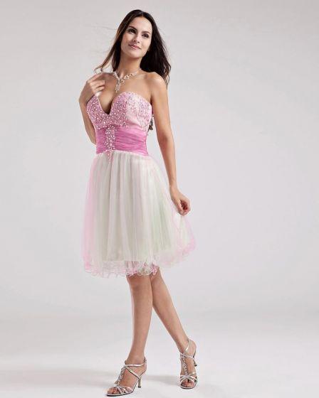 Strapless Línea A De Vestido De Cóctel Corto Mini Satén